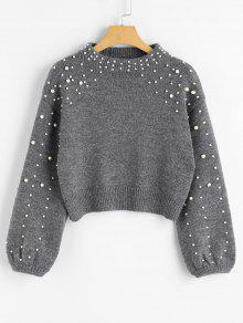 Faux Pearl Mock Neck Sweter