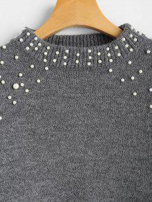 50% OFF  2019 Faux Pearl Mock Neck Sweater In GRAY S  6cde581b2