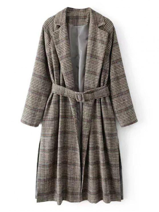 Belted Checked Slit Wool Blend Coat