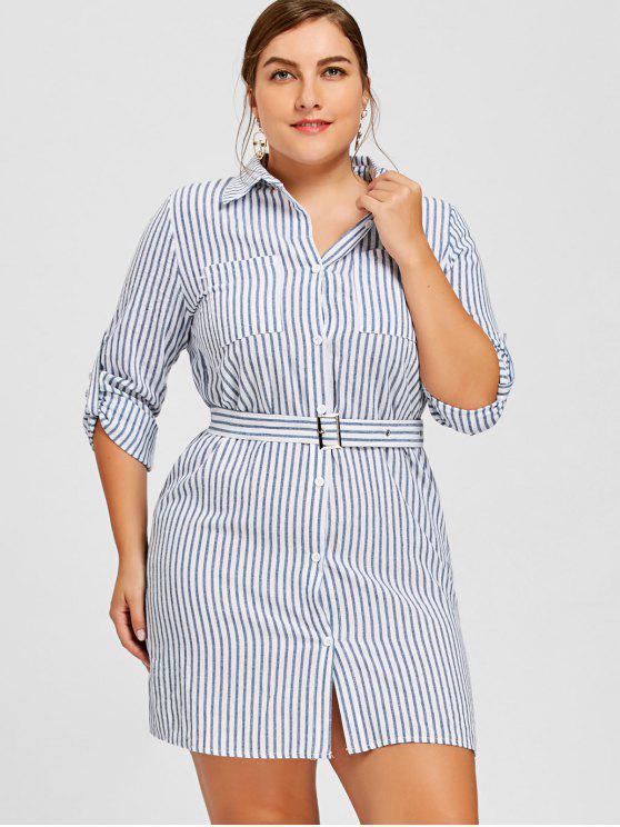 31% OFF] 2019 Stripe Plus Size Shirt Dress In STRIPE | ZAFUL