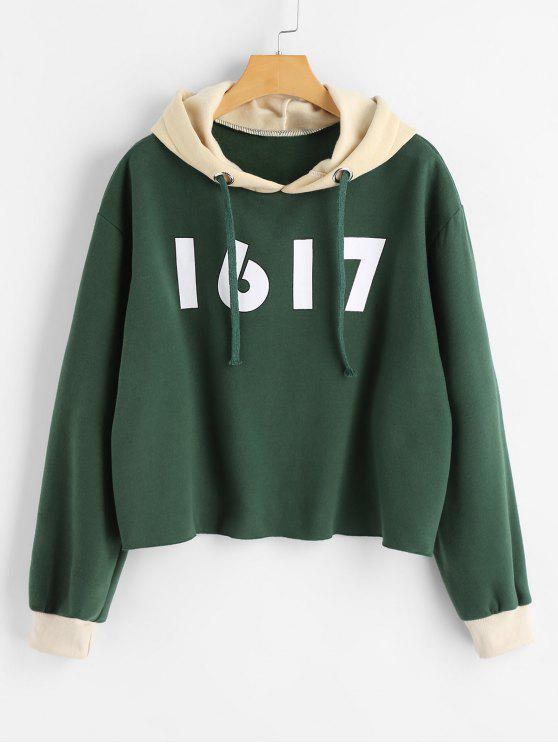 women's Number Color Block Tunic Hoodie - GREEN ONE SIZE