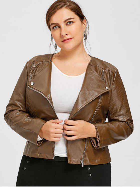 d25588ec153 34% OFF  2019 Faux Leather Plus Size Biker Jacket In BROWN 5XL
