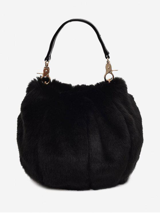 hot Multi Function Fuzzy Handbag - BLACK
