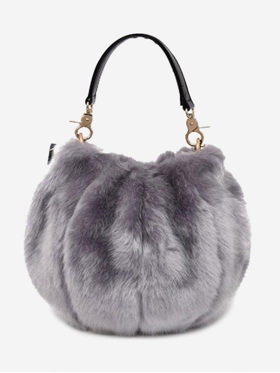 trendy Multi Function Fuzzy Handbag - GRAY