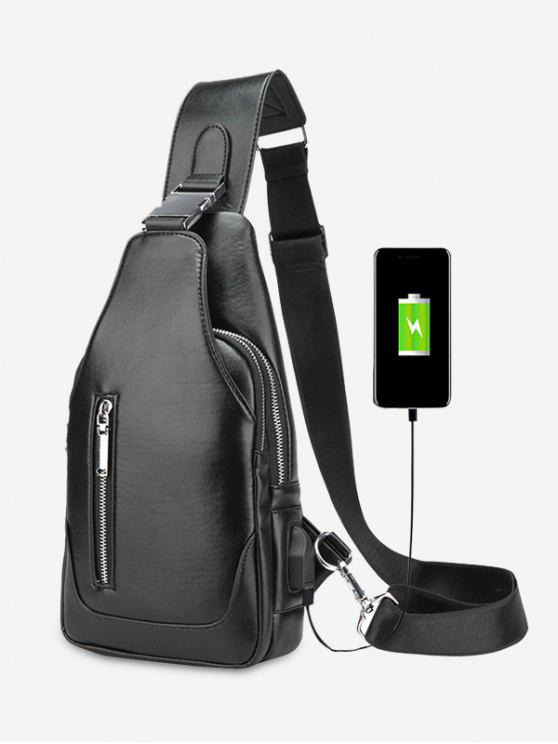 unique PU Leather Chest Bag With USB Charging Port - BLACK