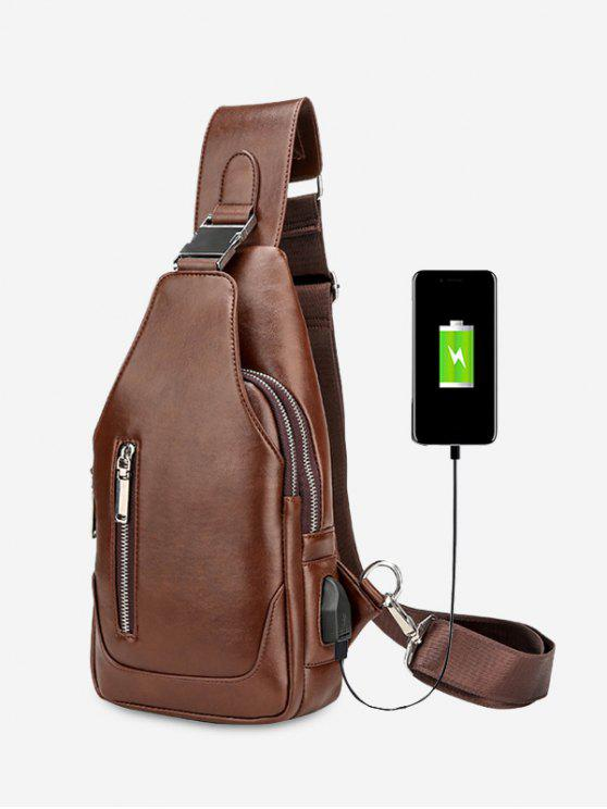 buy PU Leather Chest Bag With USB Charging Port - BROWN