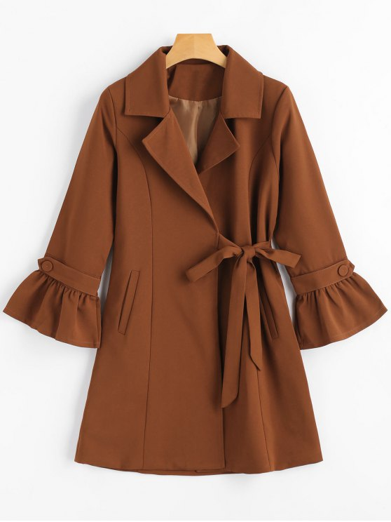 chic Snap Button Flare Sleeve Lapel Coat - BROWN S