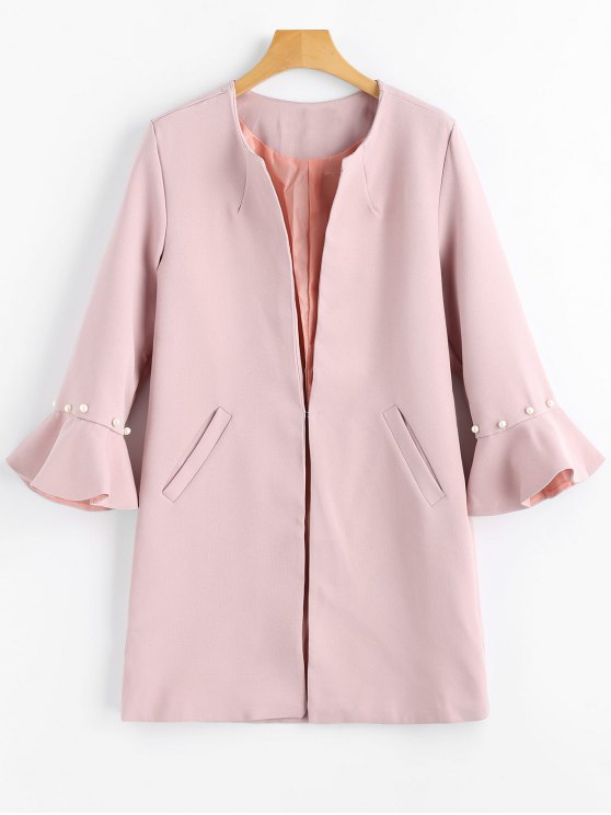 best Beading Flare Sleeve Coat with Pockets - PINK S