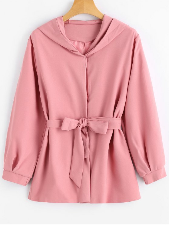 new Snap Button Belted Hooded Coat - PINK XL