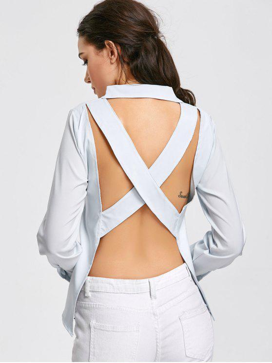 Criss Cross Open Back Pocket Shirt