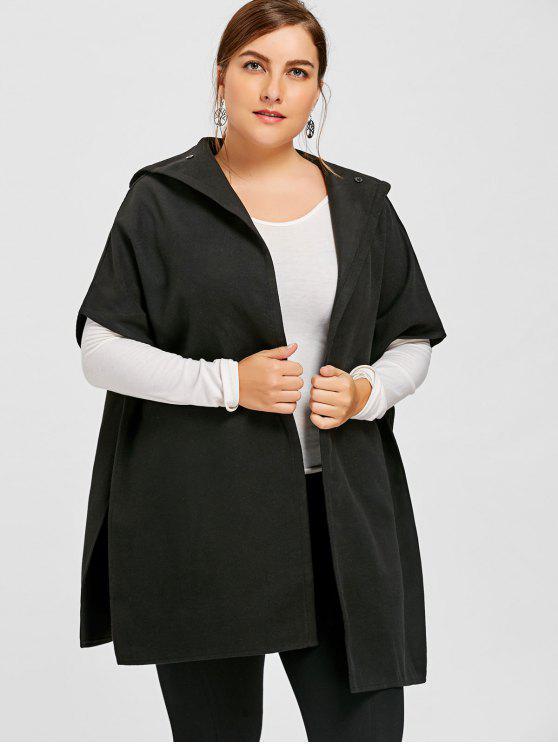 Manteau à Capuche Grande Taille - Noir 5XL