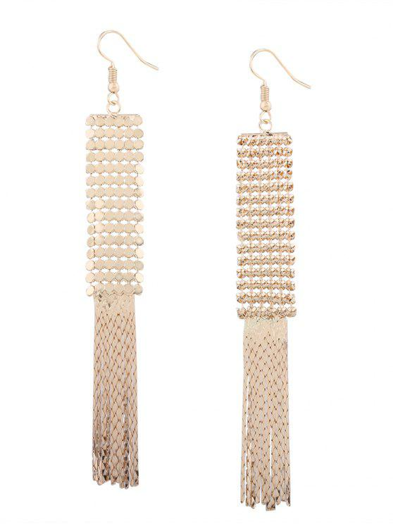 Boucles d'oreilles à crochet frangé en métal vintage en alliage - Or