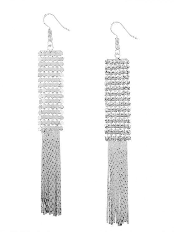 sale Vintage Alloy Metal Fringed Hook Earrings - WHITE