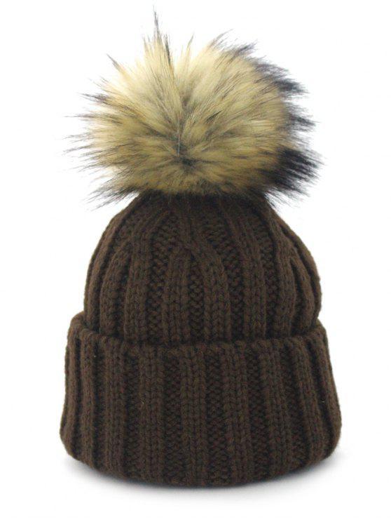 Bola Fuzzy removível Embellished Flanging Knit Beanie - Café