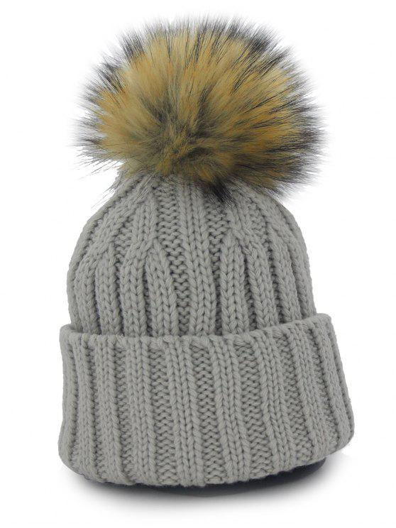 23% OFF  2019 Removable Fuzzy Ball Embellished Flanging Knit Beanie ... 7a6267d1a6be