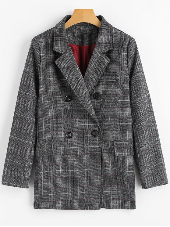 best Double Breasted Checked Lapel Blazer - CHECKED S