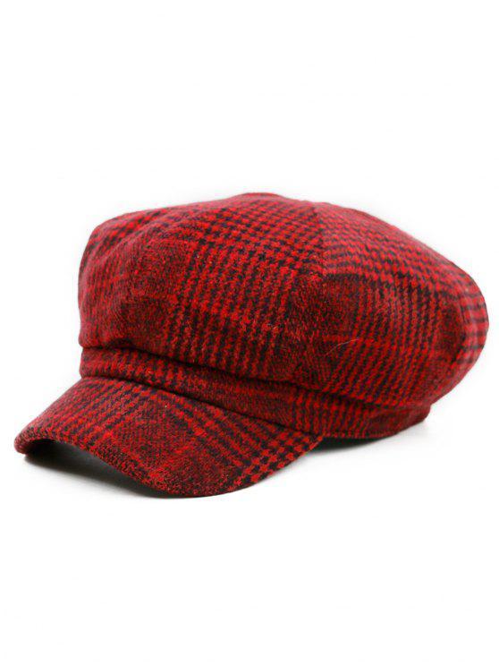Houndstooth Pattern Embellished Newsboy Hat - Padrão A