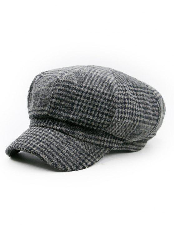 Chapeau de Newsboy orné de motifs pied-de-poule - Motif E