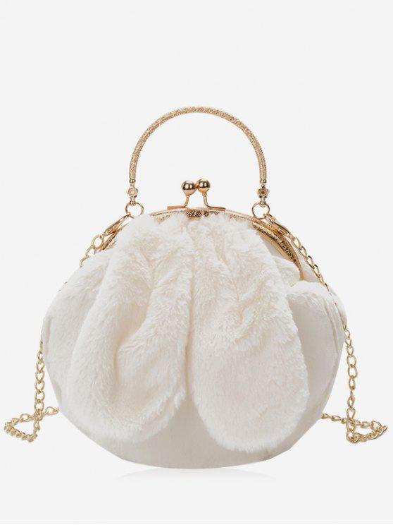 L'orecchio del coniglio ha abbellito la borsa della pelliccia del faux - Bianco