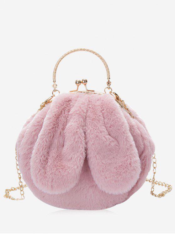 Bolsa De Pele De Faux Fur Embellished De Coelho - Rosa