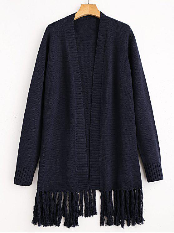 Strickjacke mit Fransen - Schwarzblau Eine Größe