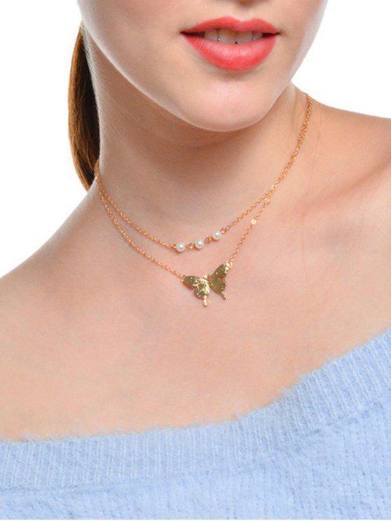 Faux Perle Schmetterling geschichteten Schlüsselbein Halskette - Golden