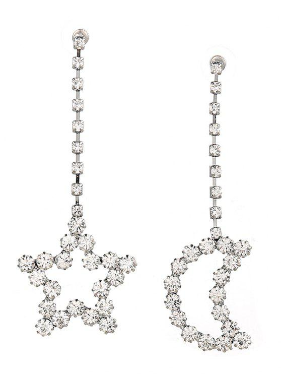 trendy Sparkly Rhinestone Moon Star Chain Earrings - SILVER