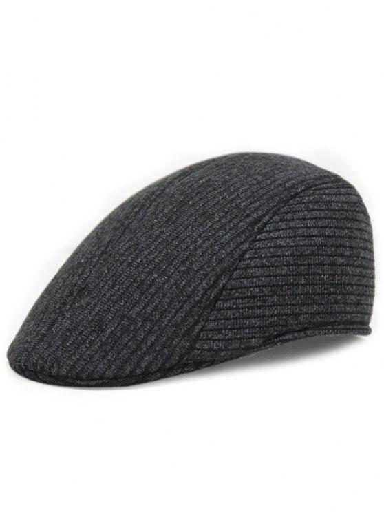 shop Retro Stripe Pattern Knitting Duckbill Hat - BLACK