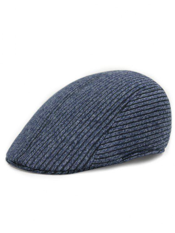 latest Retro Stripe Pattern Knitting Duckbill Hat - BLUE