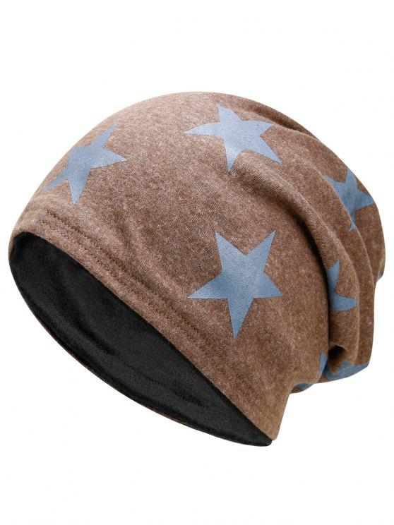 trendy Simple Star Pattern Reversible Lightweight Beanie - KHAKI