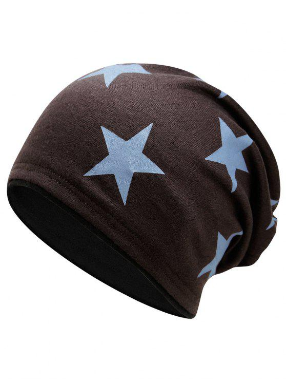 fashion Simple Star Pattern Reversible Lightweight Beanie - COFFEE