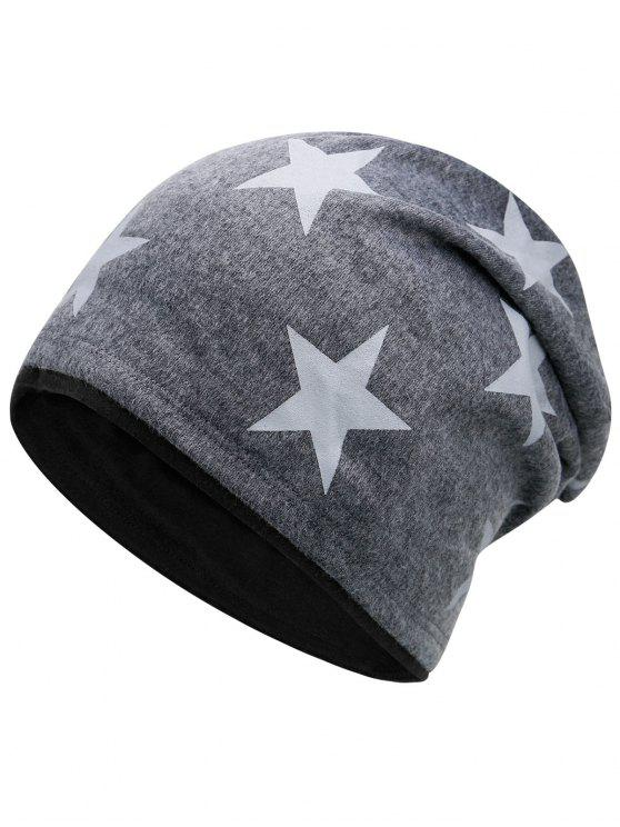chic Simple Star Pattern Reversible Lightweight Beanie - DARK GRAY