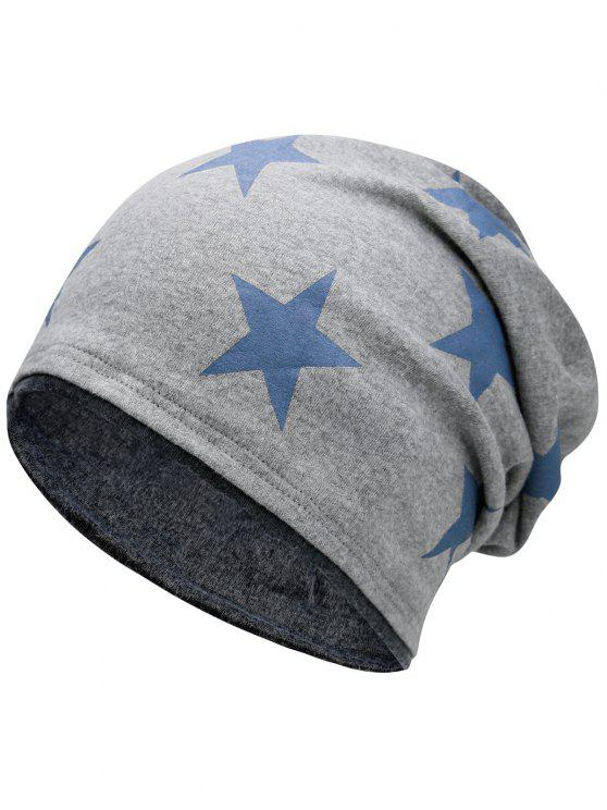 fancy Simple Star Pattern Reversible Lightweight Beanie - LIGHT GREY