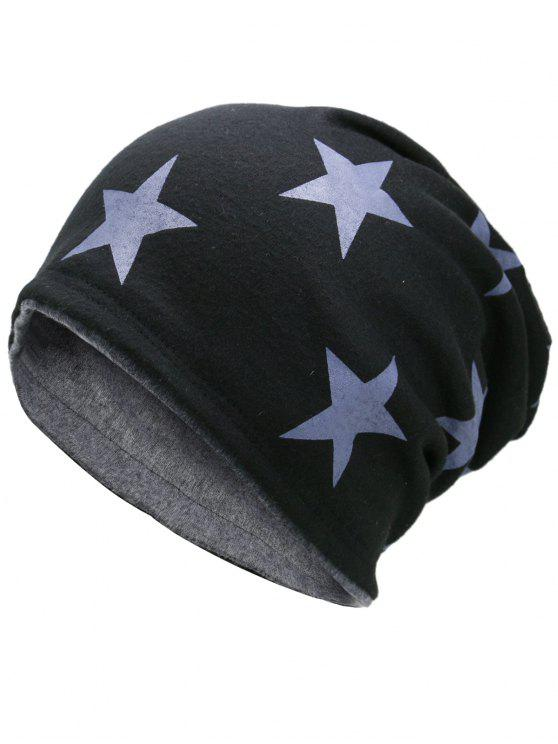 Gorro Ligero Reversible Star Pattern Simple - Negro