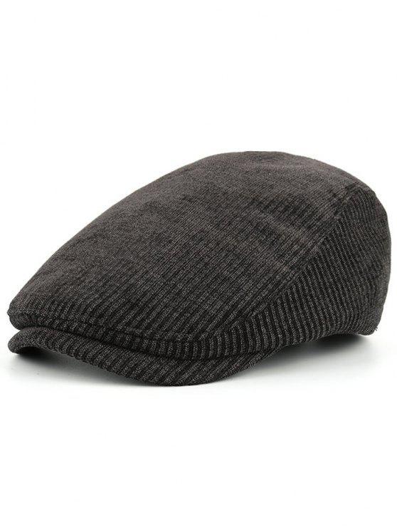 Motif rayé Agrémenté Chapeau de Newsboy réglable - Noir