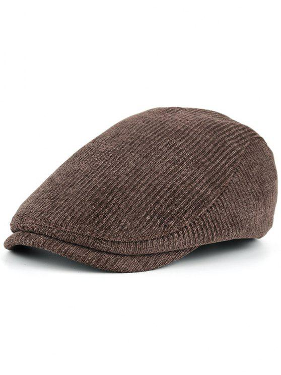 ladies Striped Pattern Embellished Adjustable Newsboy Hat - COFFEE