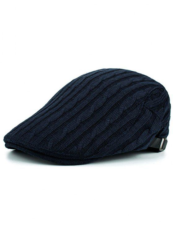 outfits Multipurpose Striped Pattern Knit Cabbie Hat - CADETBLUE