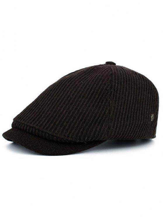 affordable Vertical Striped Pattern Embellished Newsboy Hat - COFFEE