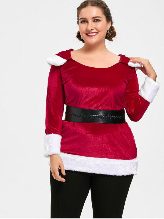 women Christmas Plus Size Two Tone Hoodie - RED AND WHITE 4XL
