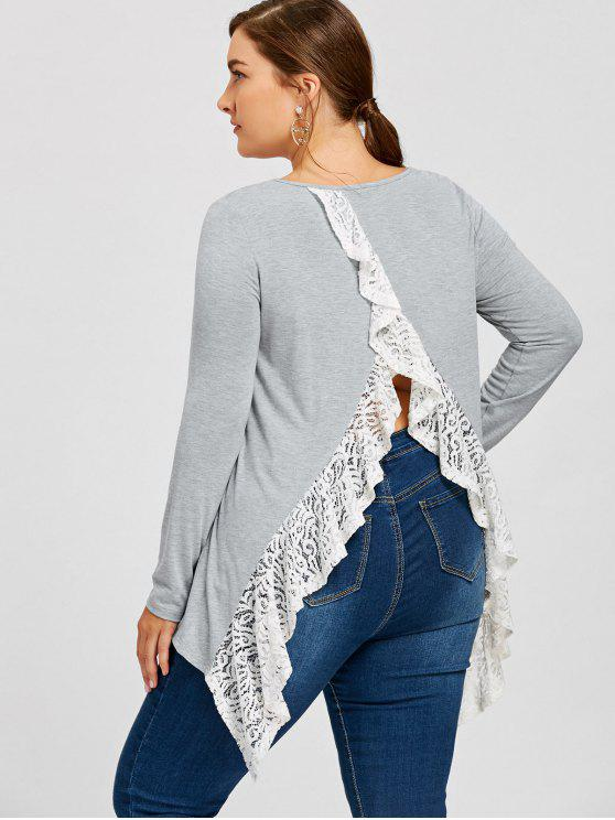 new Plus Size Asymmetric Lace Trimmed Back Split Top - GRAY XL