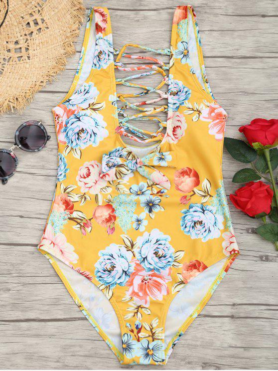 Traje de baño floral de corte alto Strappy - Amarillo S