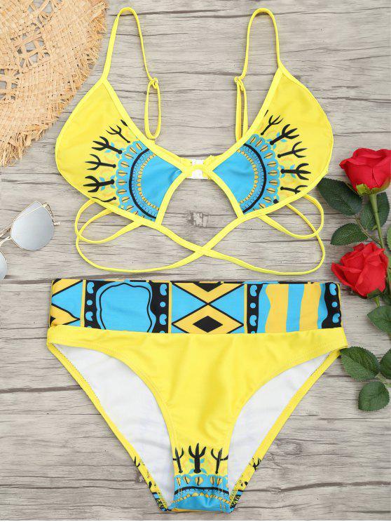 Ensemble de bikini à imprimé coupe haute en cage - Jaune S