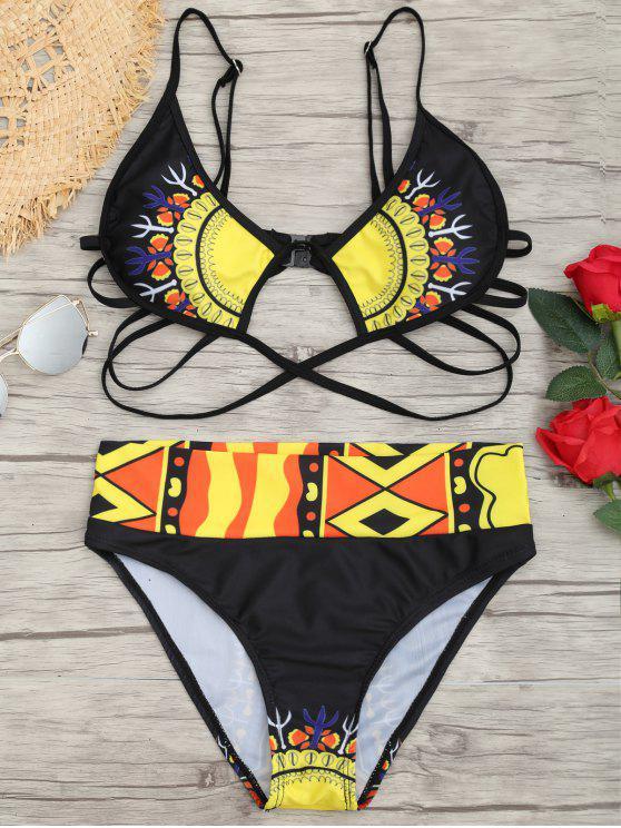 Ensemble Bikini Imprimé Cage à Coupe Haute - Noir S