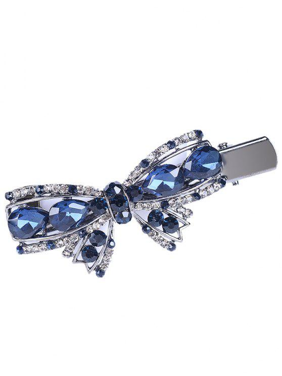 buy Bowknot Rhinestone Embellished Artificial Gem Hairpin - BLUE