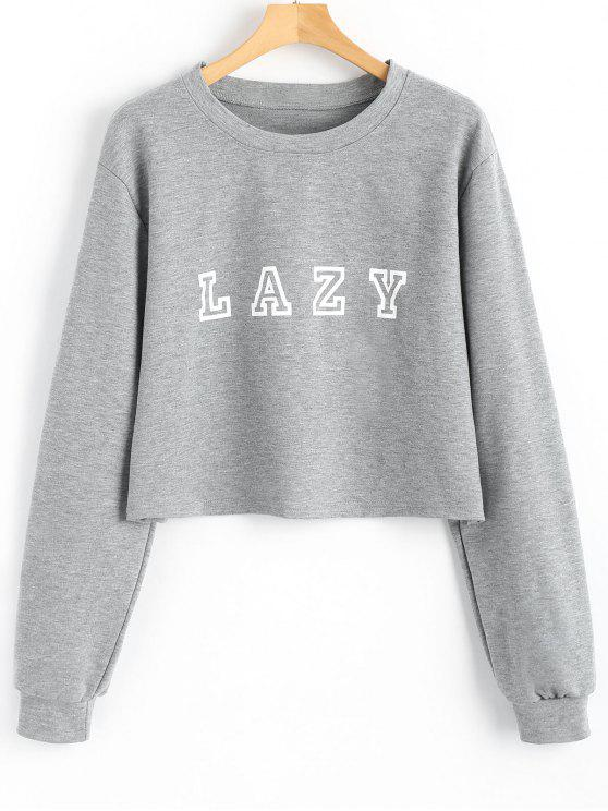 new Drop Shoulder Letter Graphic Pattern Sweatshirt - GRAY S