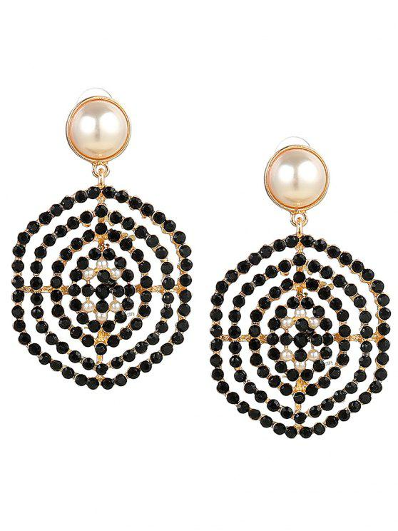 latest Rhinestone Faux Pearl Hexagon Earrings - BLACK