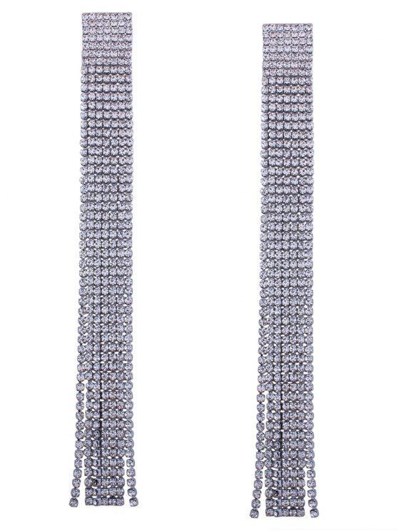 Orecchini Con Catena E Frange E Diamante Artificiale - Nero