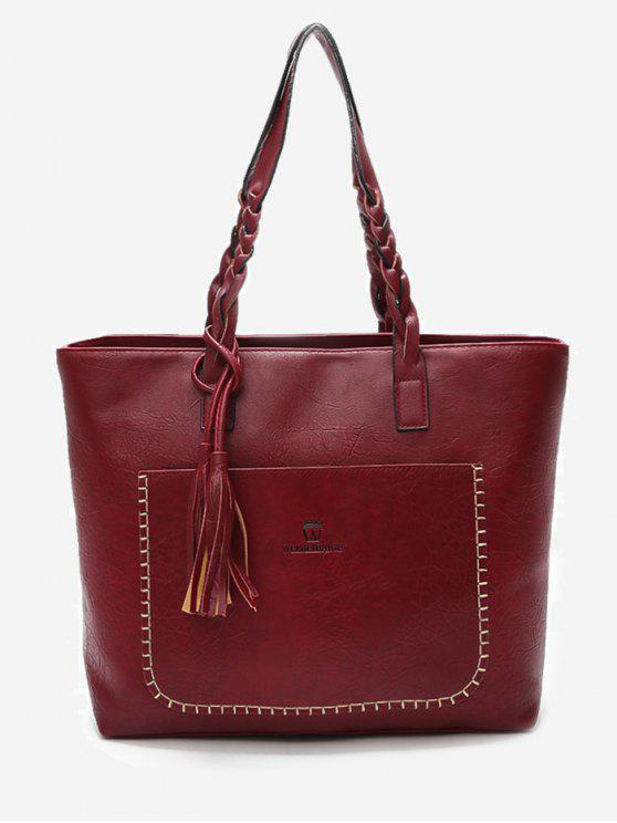 Braid Tassels Whipstitch Tote Bag - Rojo