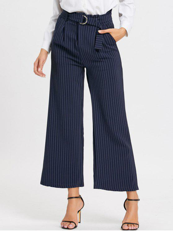 Calças de perna lisa formal de cintura alta listrada - Azul XL
