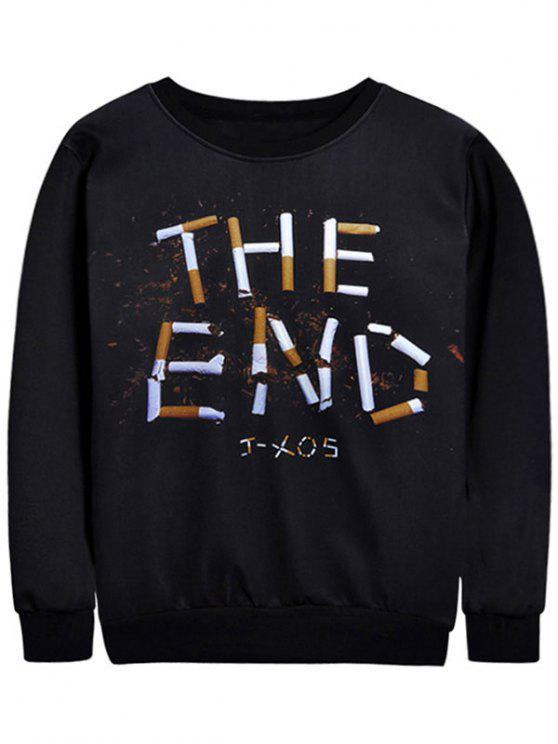 Cigarette Graphic Crew Neck Sweatshirt - Negro M